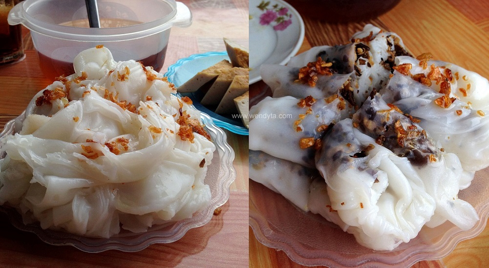 Bánh Cuốn (Vietnamese steamed rice rollscrepes with; (1) no fillings or (2) fillings ground pork & dried woodear mushrooms)