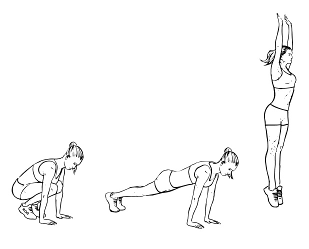 warm up burpees